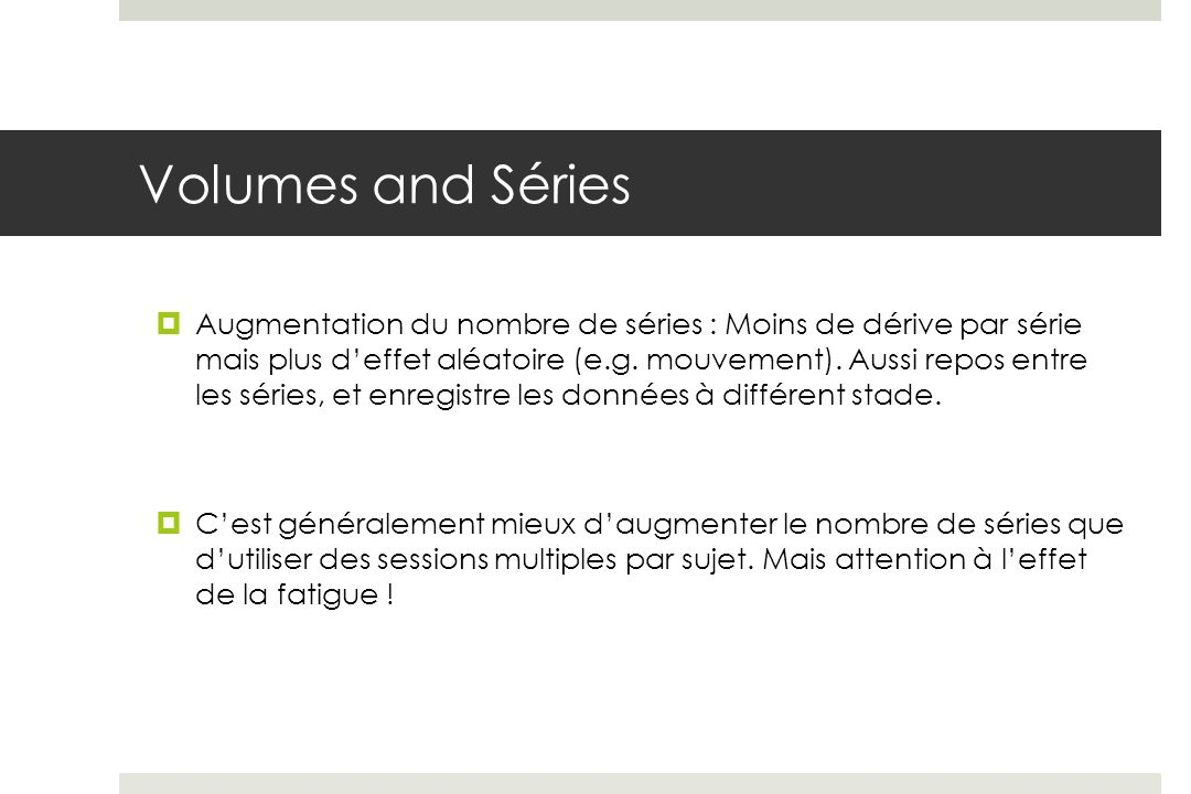Volumes and Séries