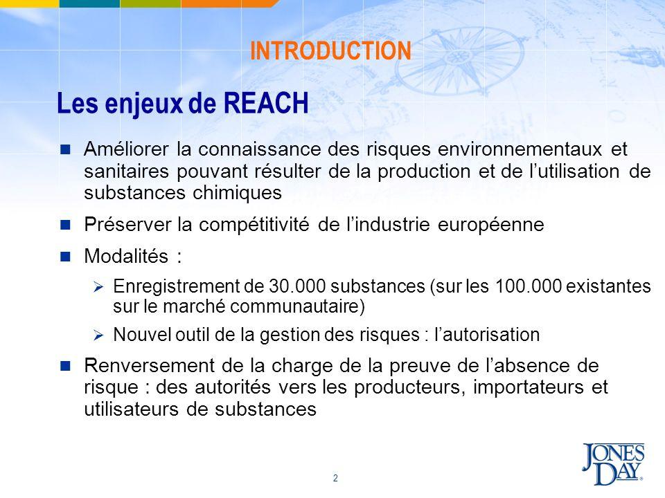 Les enjeux de REACH INTRODUCTION
