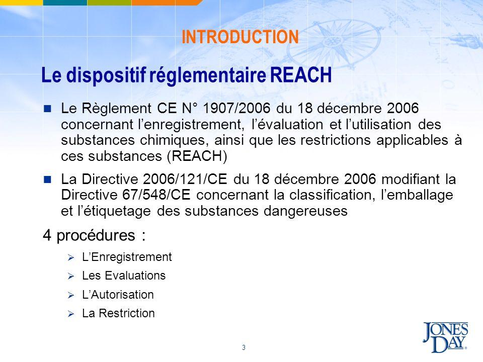 Le dispositif réglementaire REACH