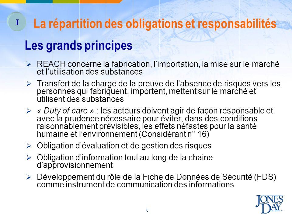 La répartition des obligations et responsabilités