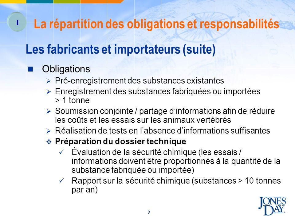 Les fabricants et importateurs (suite)