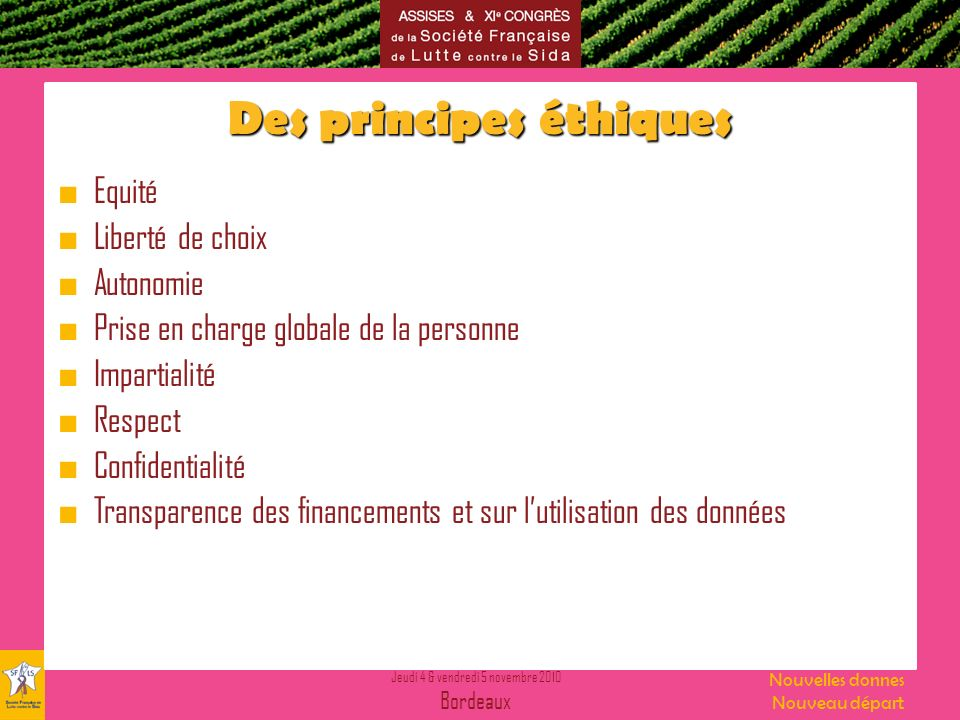 Des principes éthiques