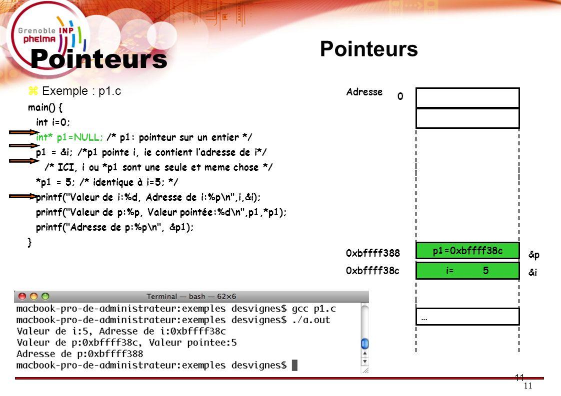 Pointeurs Pointeurs 11 11 Exemple : p1.c main() { int i=0;