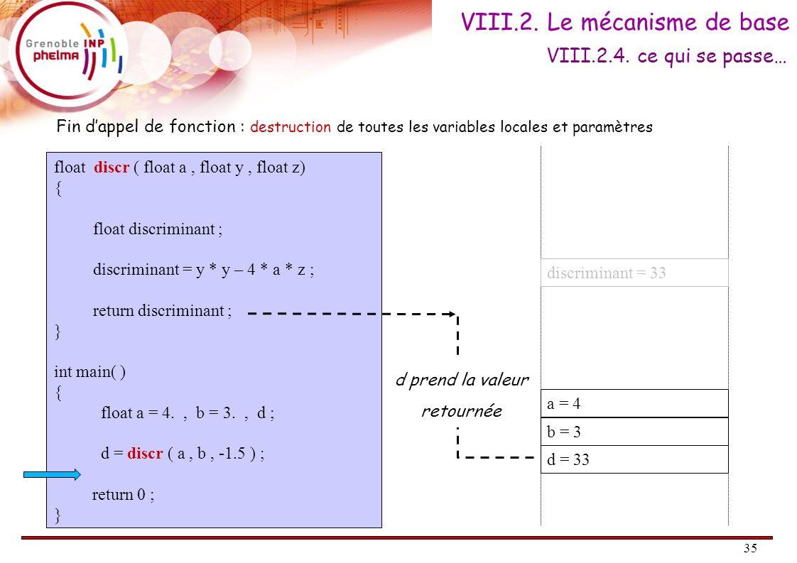 VIII.2. Le mécanisme de base