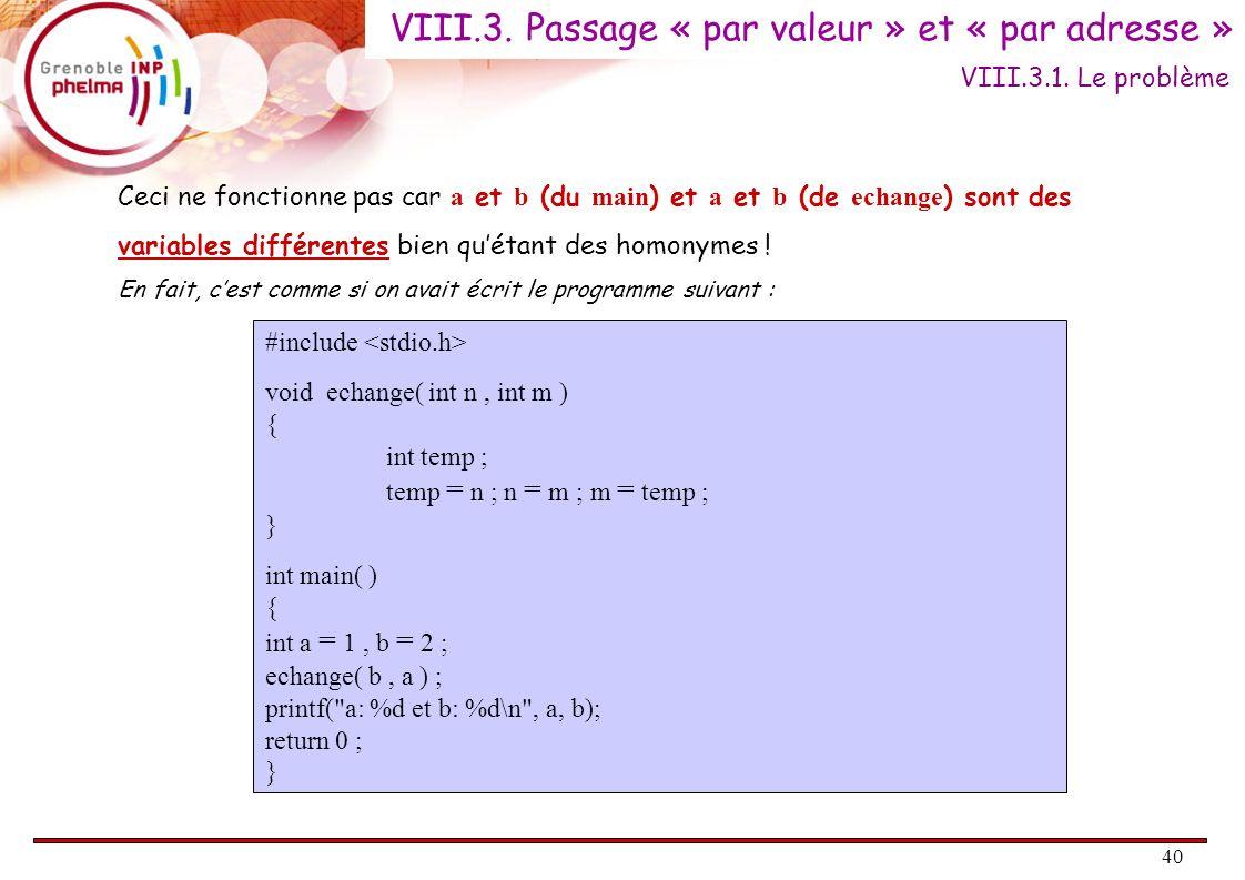 VIII.3. Passage « par valeur » et « par adresse »