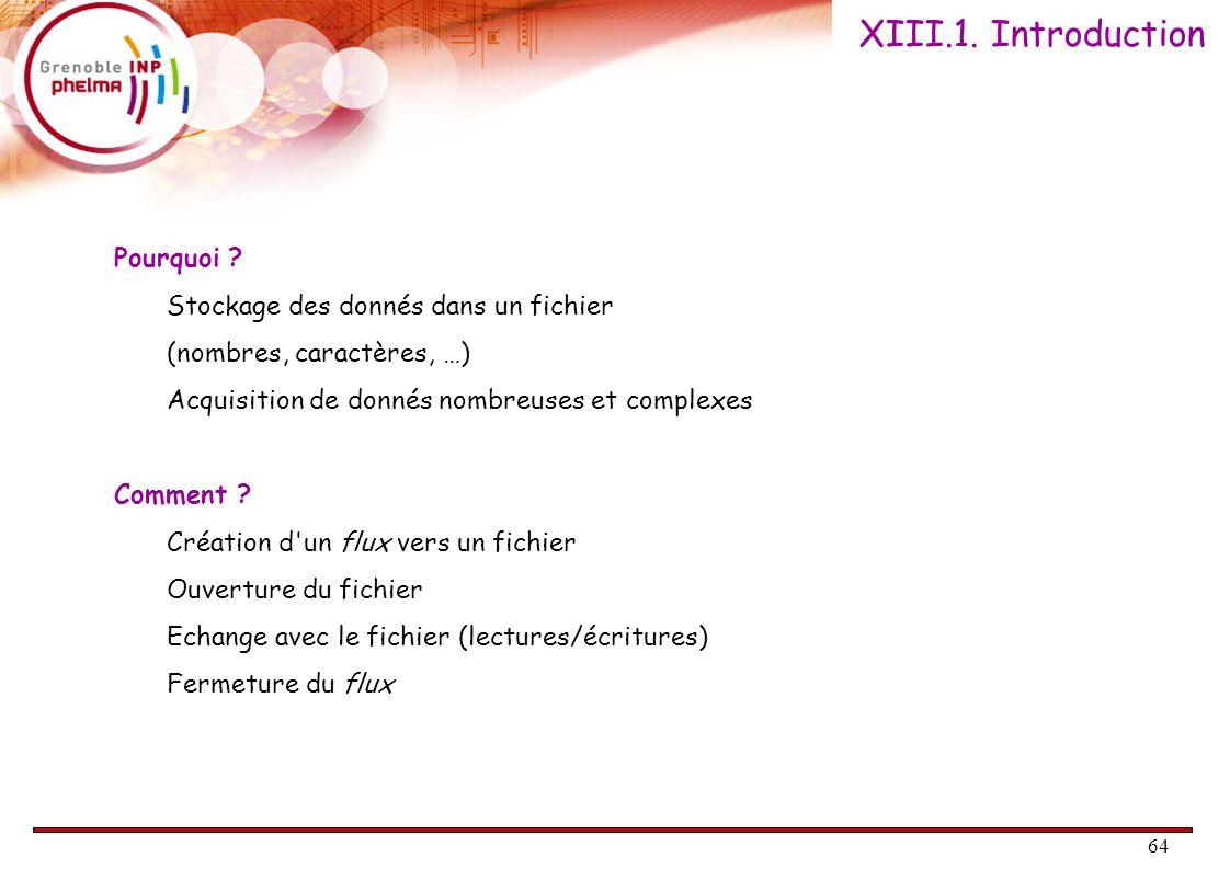 XIII.1. Introduction Pourquoi Stockage des donnés dans un fichier