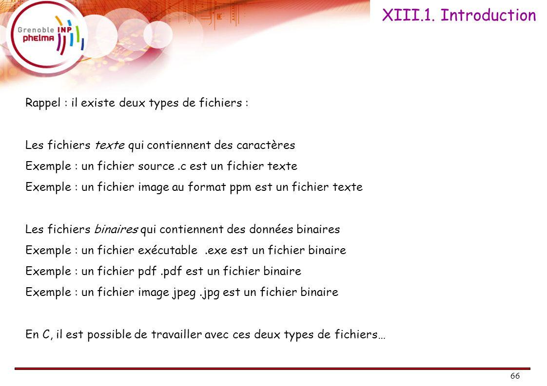 XIII.1. Introduction Rappel : il existe deux types de fichiers :
