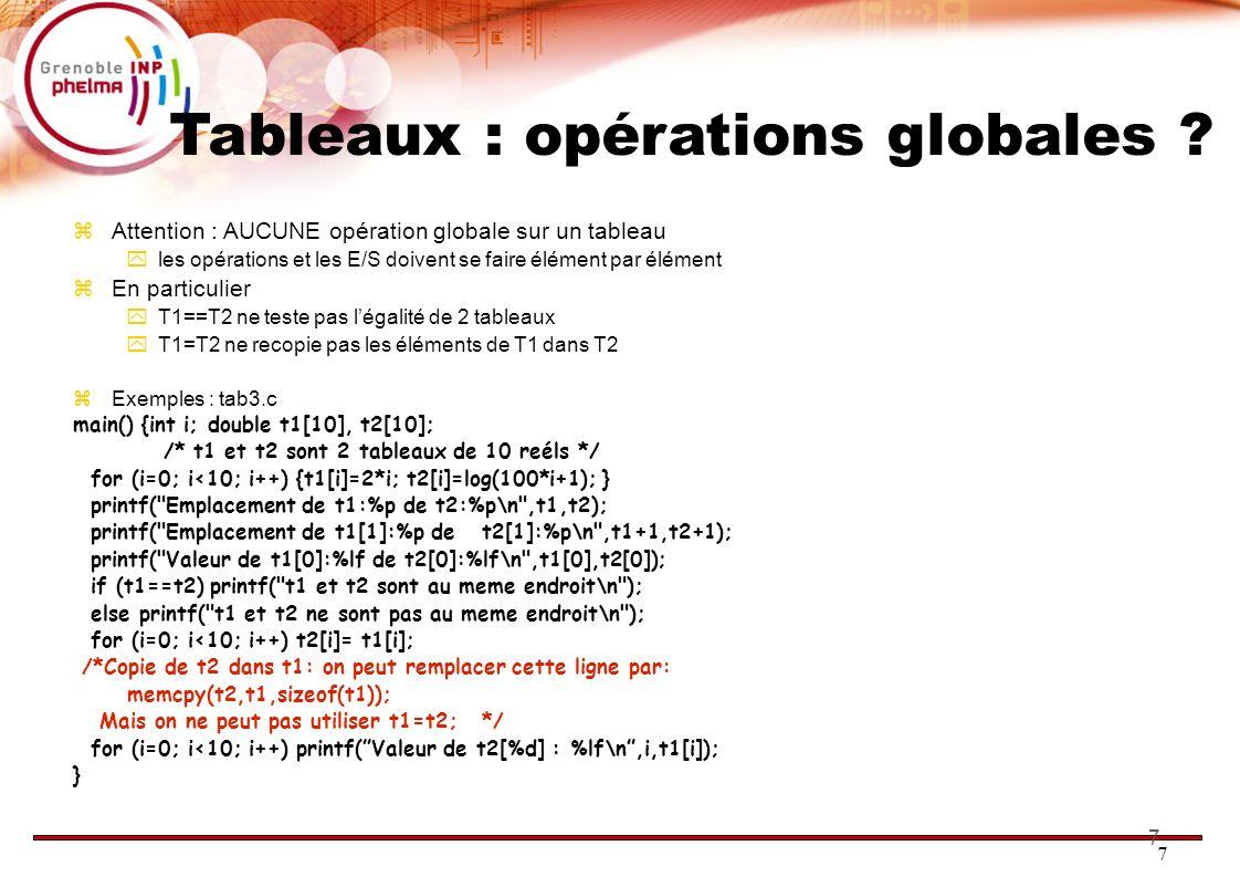 Tableaux : opérations globales