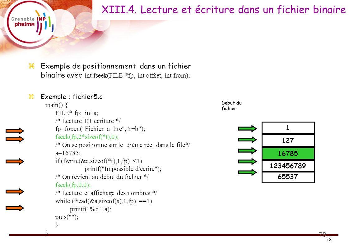 XIII.4. Lecture et écriture dans un fichier binaire