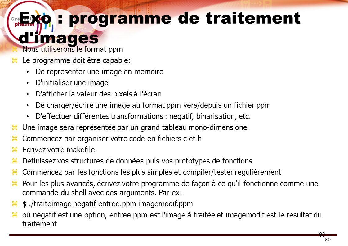 Exo : programme de traitement d images