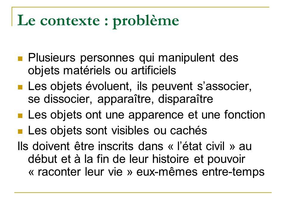 Le contexte : problème Plusieurs personnes qui manipulent des objets matériels ou artificiels.