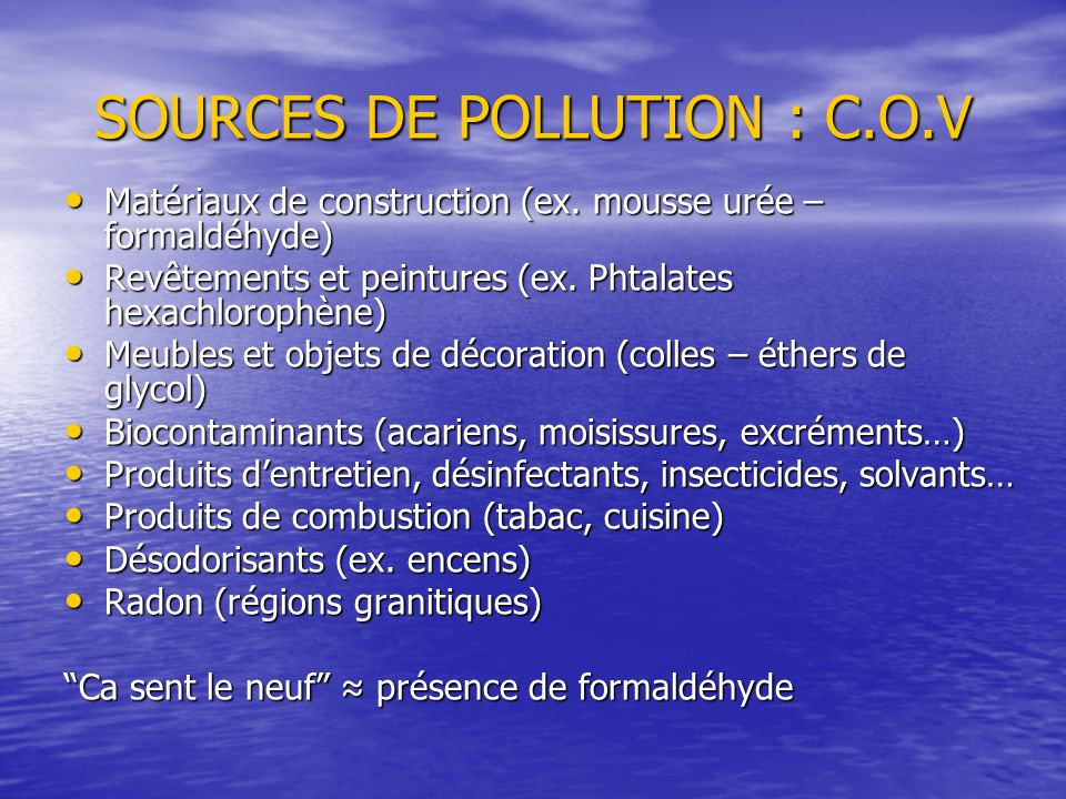 SOURCES DE POLLUTION : C.O.V