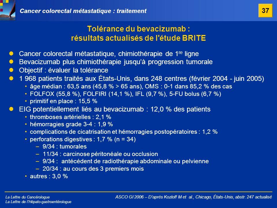 Tolérance du bevacizumab : résultats actualisés de l étude BRITE