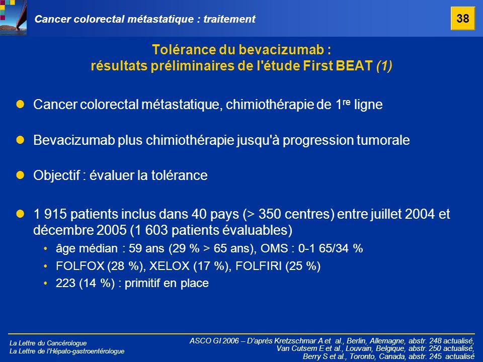 Cancer colorectal métastatique, chimiothérapie de 1re ligne
