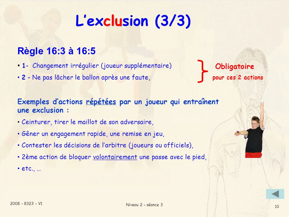 L'exclusion (3/3) Règle 16:3 à 16:5