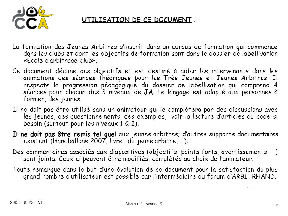 UTILISATION DE CE DOCUMENT :