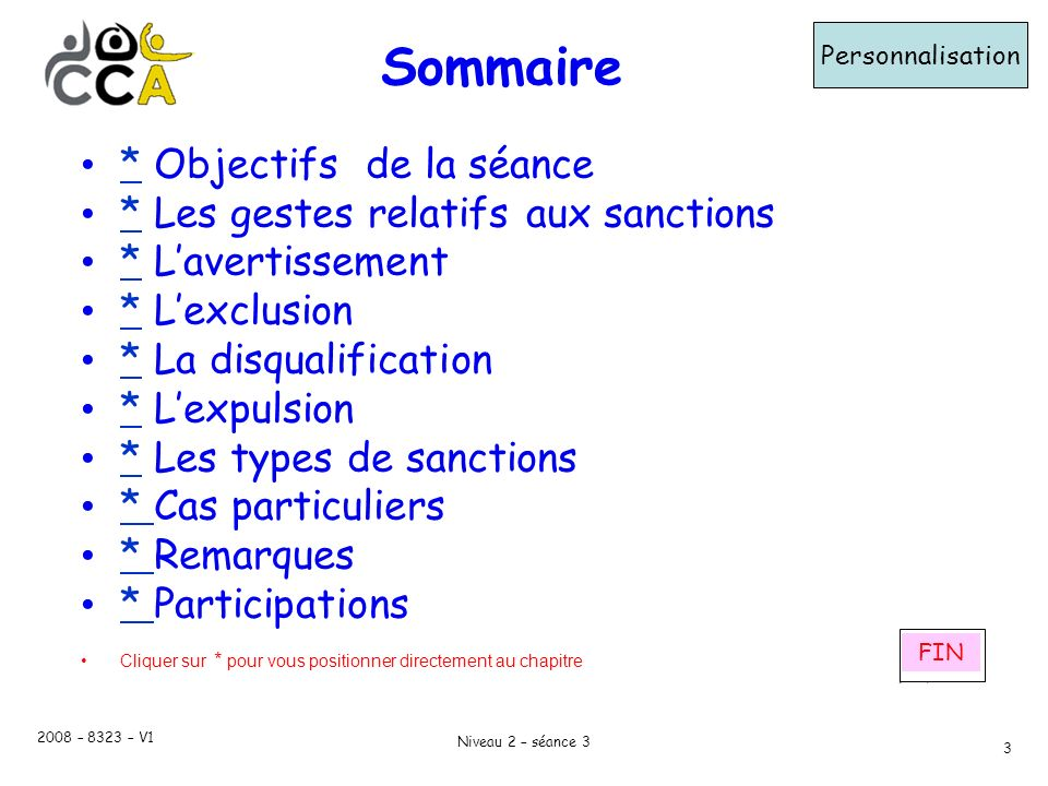 Sommaire * Objectifs de la séance * Les gestes relatifs aux sanctions