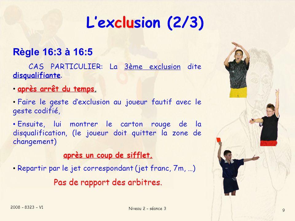 L'exclusion (2/3) Règle 16:3 à 16:5