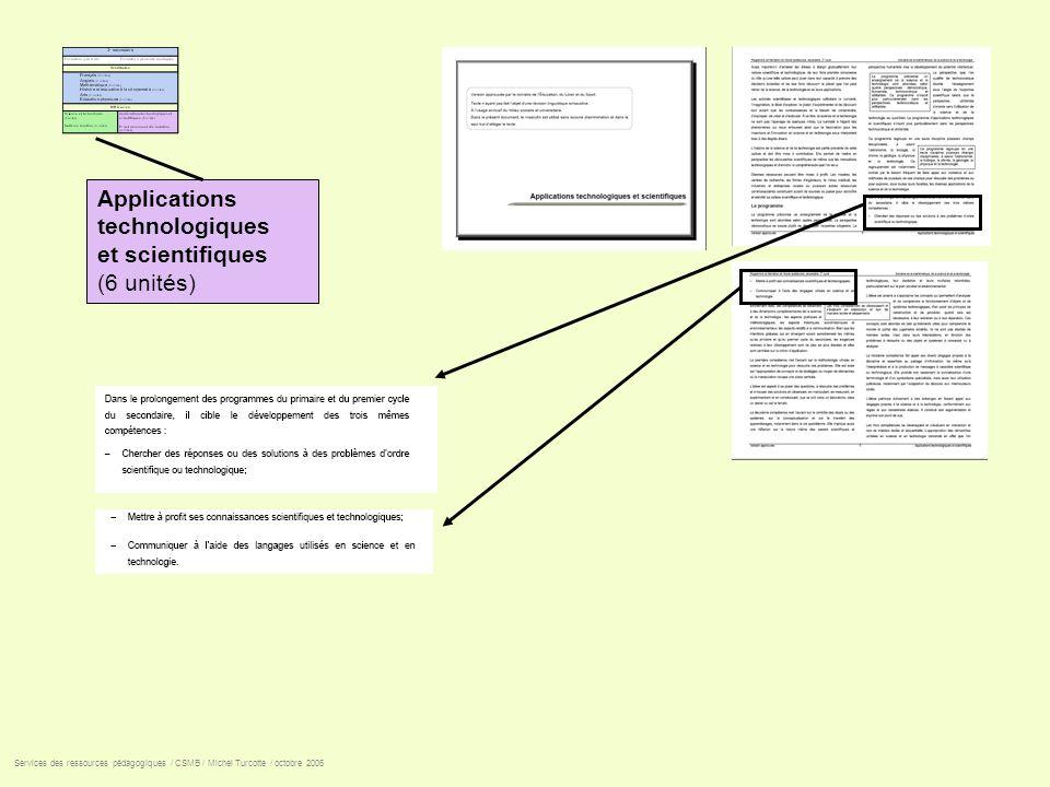 Applications technologiques et scientifiques (6 unités)