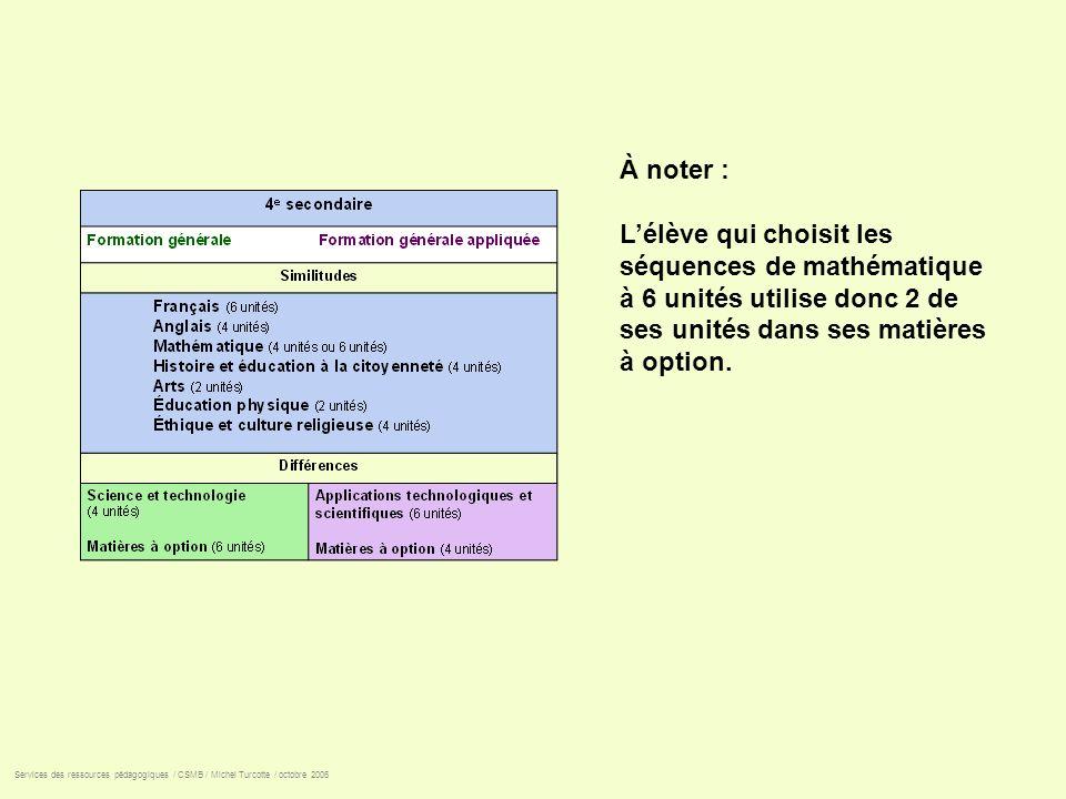 À noter : L'élève qui choisit les séquences de mathématique à 6 unités utilise donc 2 de ses unités dans ses matières à option.