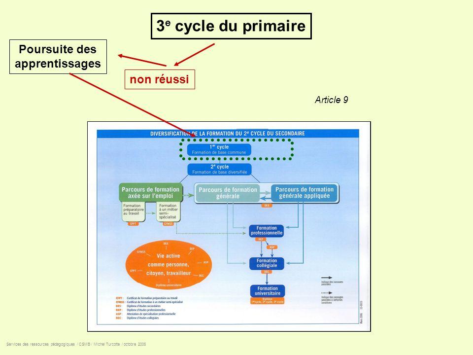 3e cycle du primaire Poursuite des apprentissages non réussi Article 9