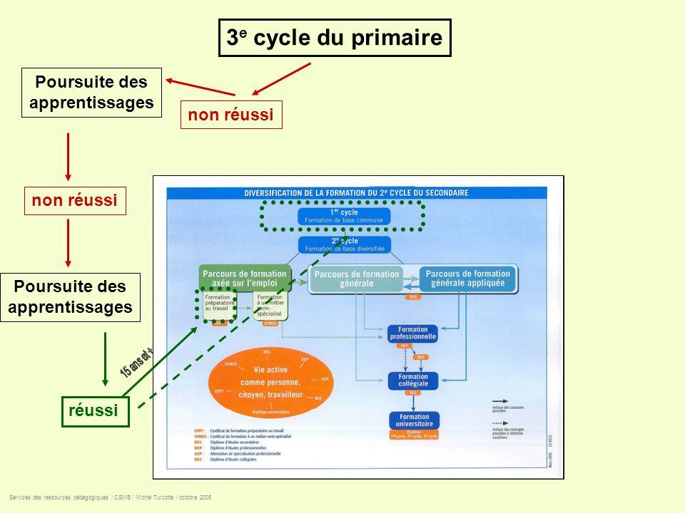 3e cycle du primaire Poursuite des apprentissages non réussi