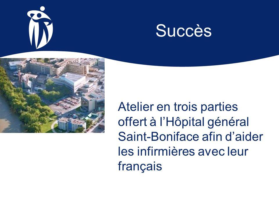 Succès Atelier en trois parties offert à l'Hôpital général Saint-Boniface afin d'aider les infirmières avec leur français.