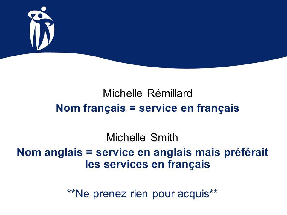 Nom français = service en français Michelle Smith