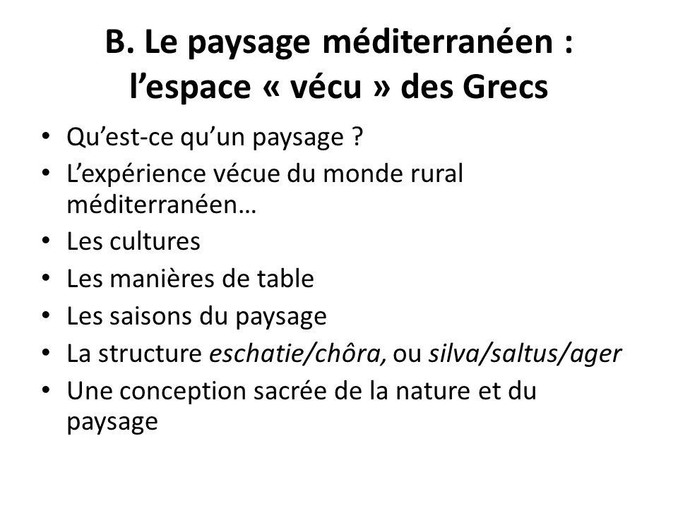 B. Le paysage méditerranéen : l'espace « vécu » des Grecs