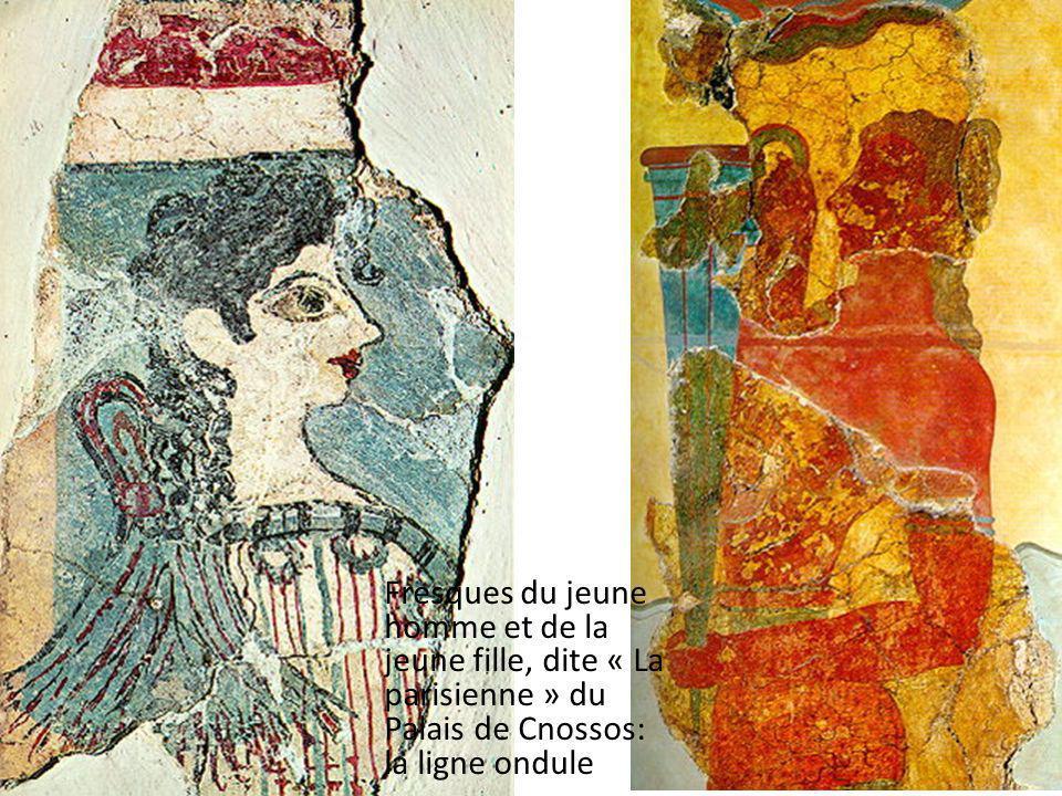 Fresques du jeune homme et de la jeune fille, dite « La parisienne » du Palais de Cnossos: la ligne ondule