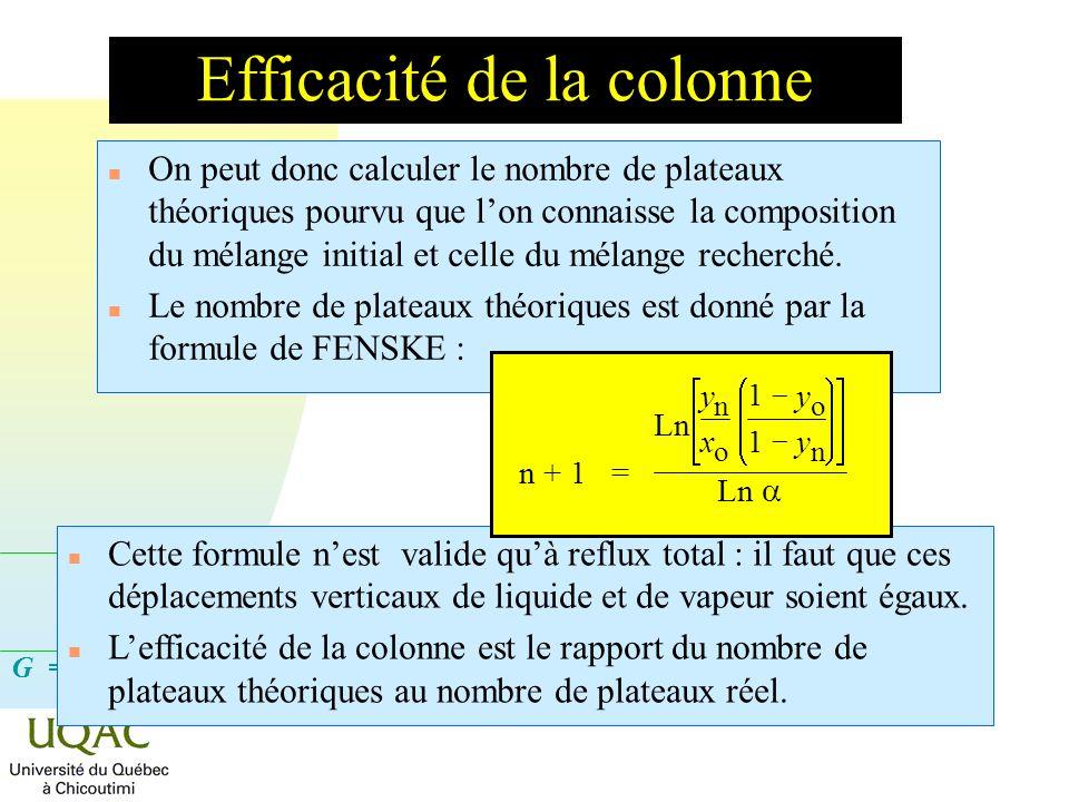 Efficacité de la colonne