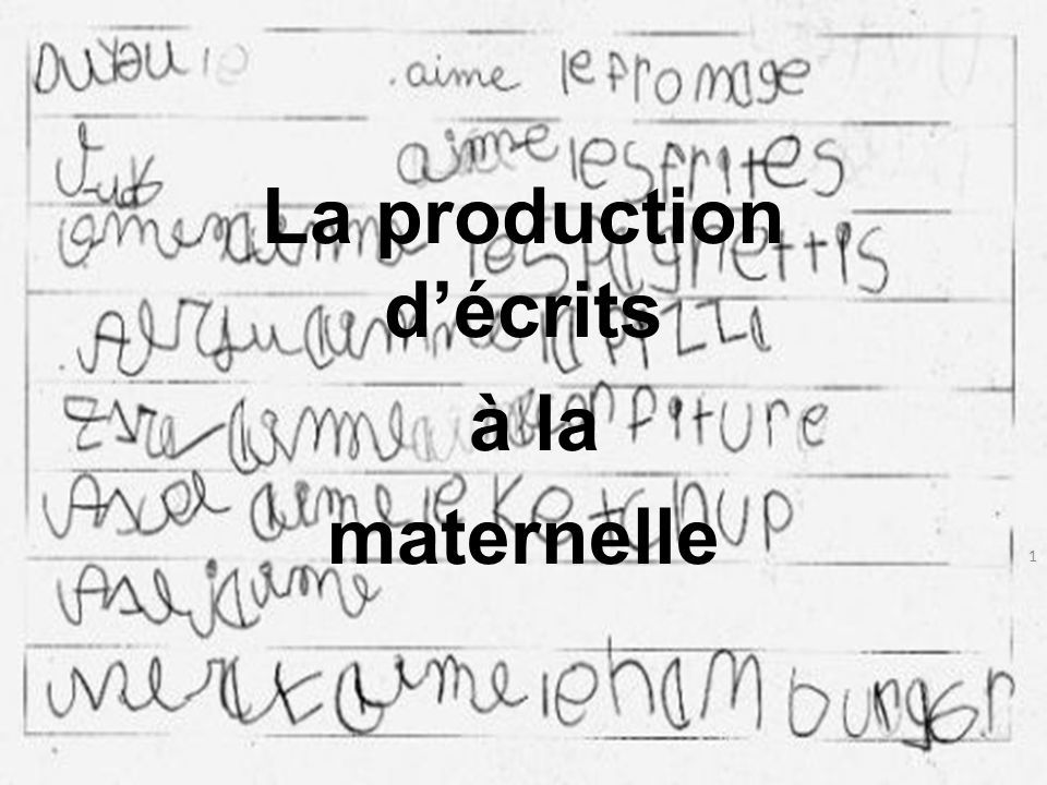 La production d'écrits à la maternelle