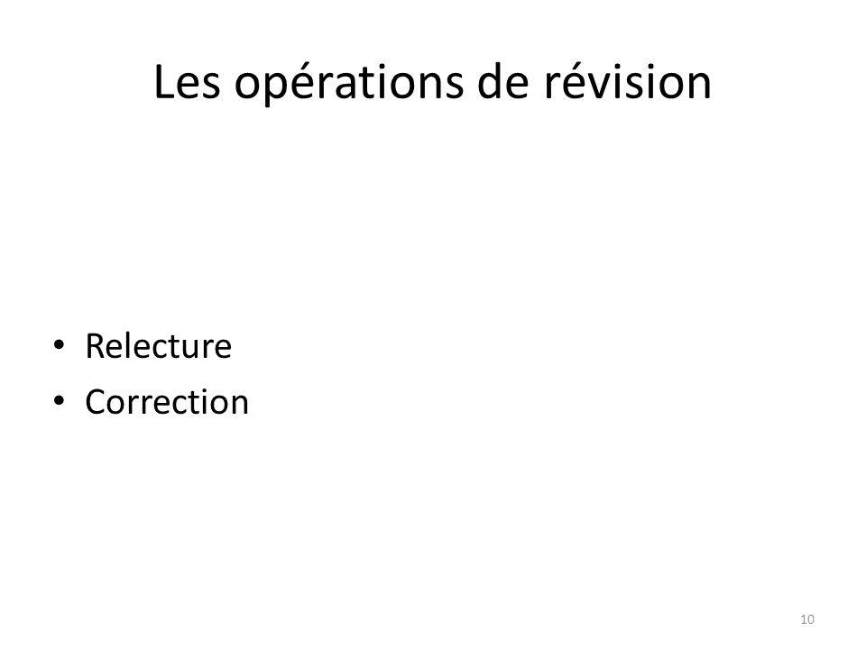 Les opérations de révision