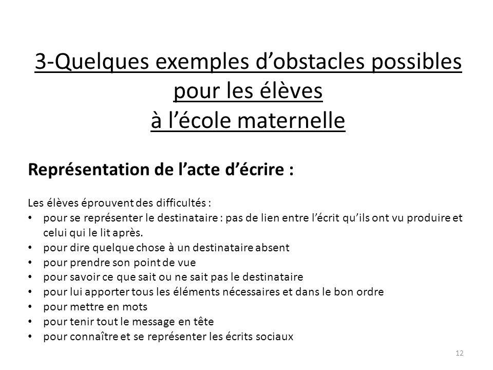 3-Quelques exemples d'obstacles possibles pour les élèves