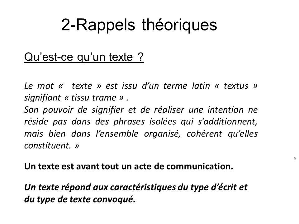 2-Rappels théoriques Qu'est-ce qu'un texte