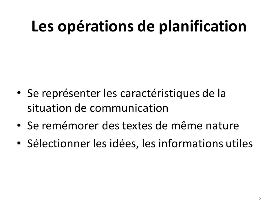 Les opérations de planification