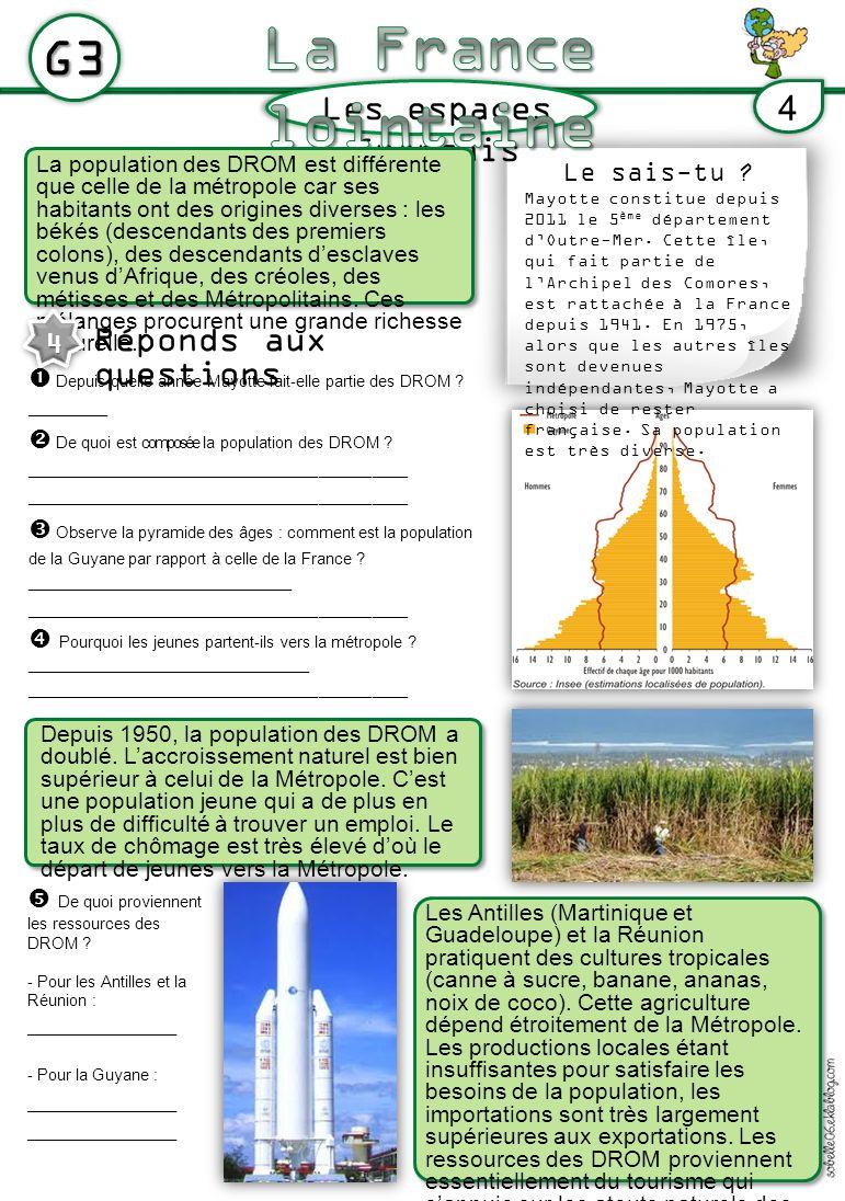La France lointaine G3 Les espaces français 4 Réponds aux questions 4