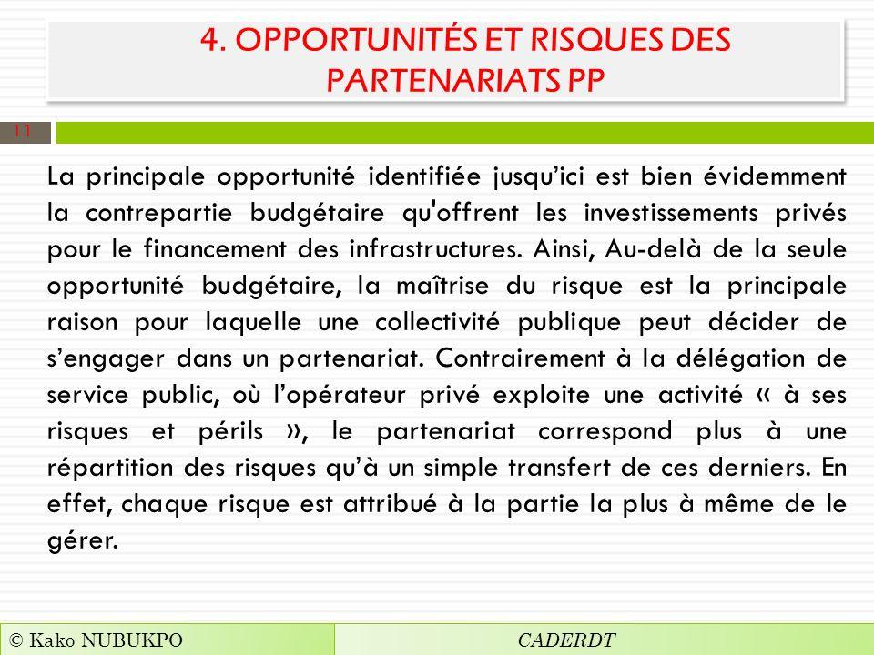 4. OPPORTUNITÉS ET RISQUES DES PARTENARIATS PP