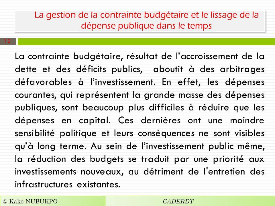 La gestion de la contrainte budgétaire et le lissage de la dépense publique dans le temps