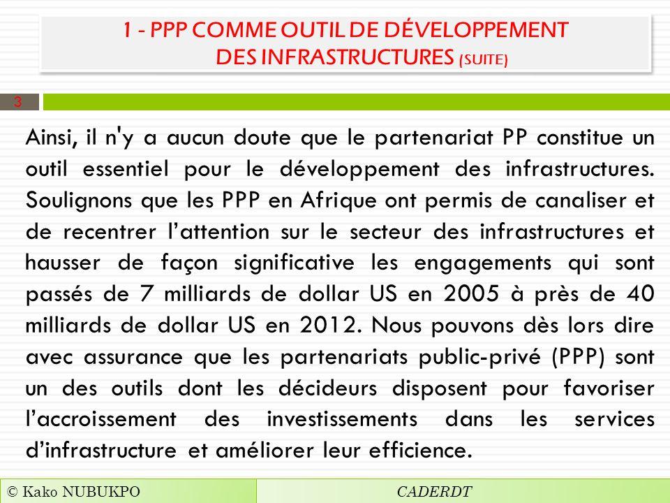 1 - PPP COMME OUTIL DE DÉVELOPPEMENT DES INFRASTRUCTURES (SUITE)