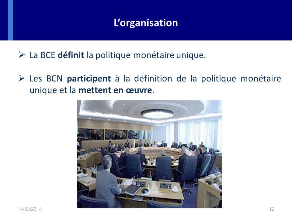 L'organisation La BCE définit la politique monétaire unique.