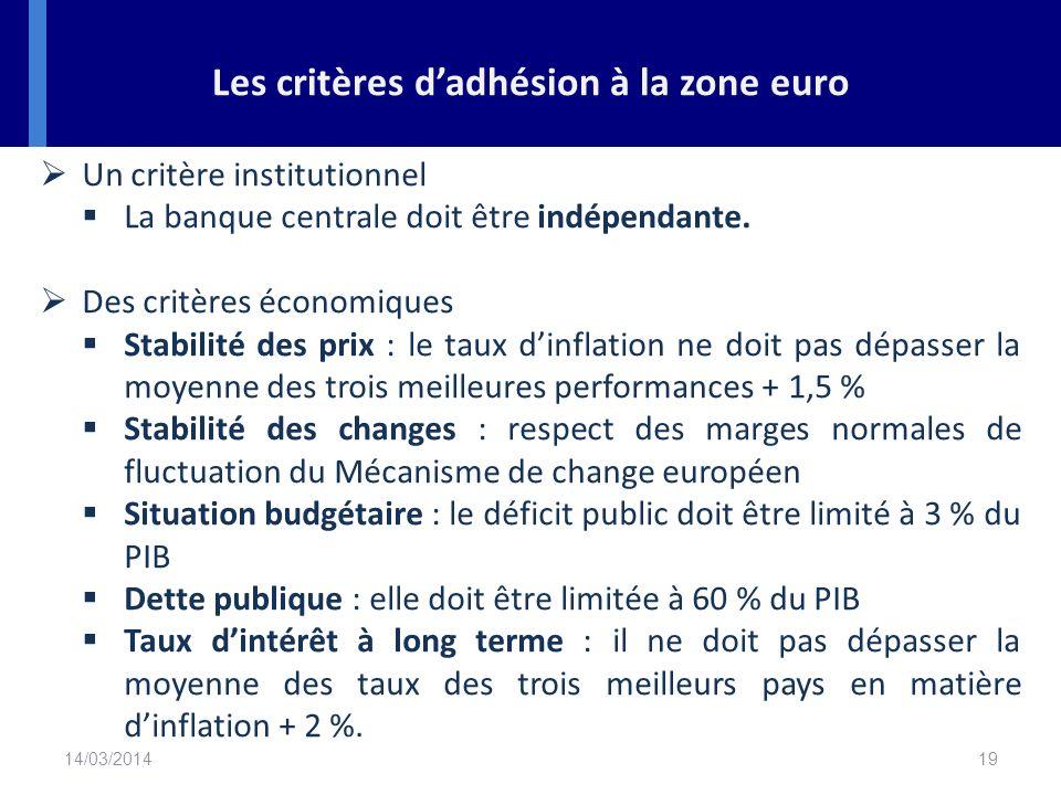 Les critères d'adhésion à la zone euro