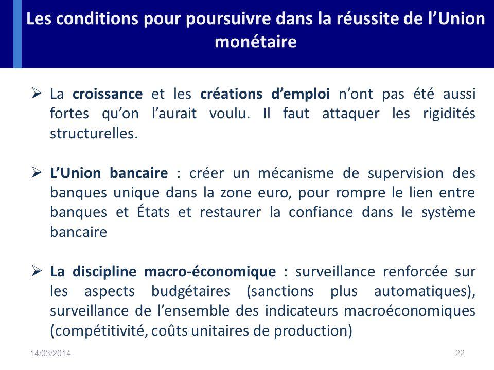 Les conditions pour poursuivre dans la réussite de l'Union monétaire