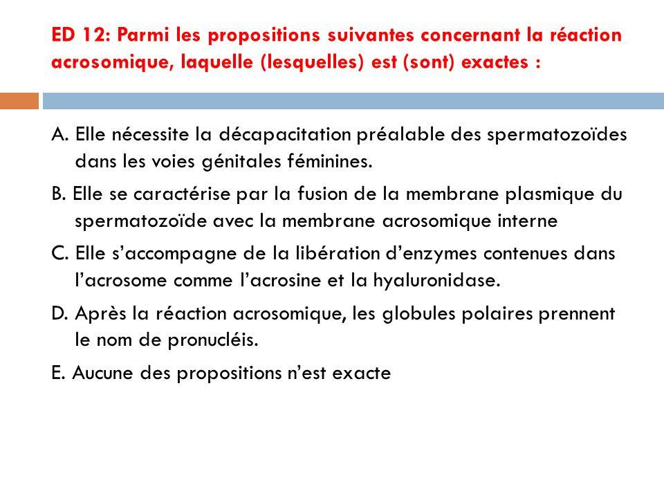 ED 12: Parmi les propositions suivantes concernant la réaction acrosomique, laquelle (lesquelles) est (sont) exactes :