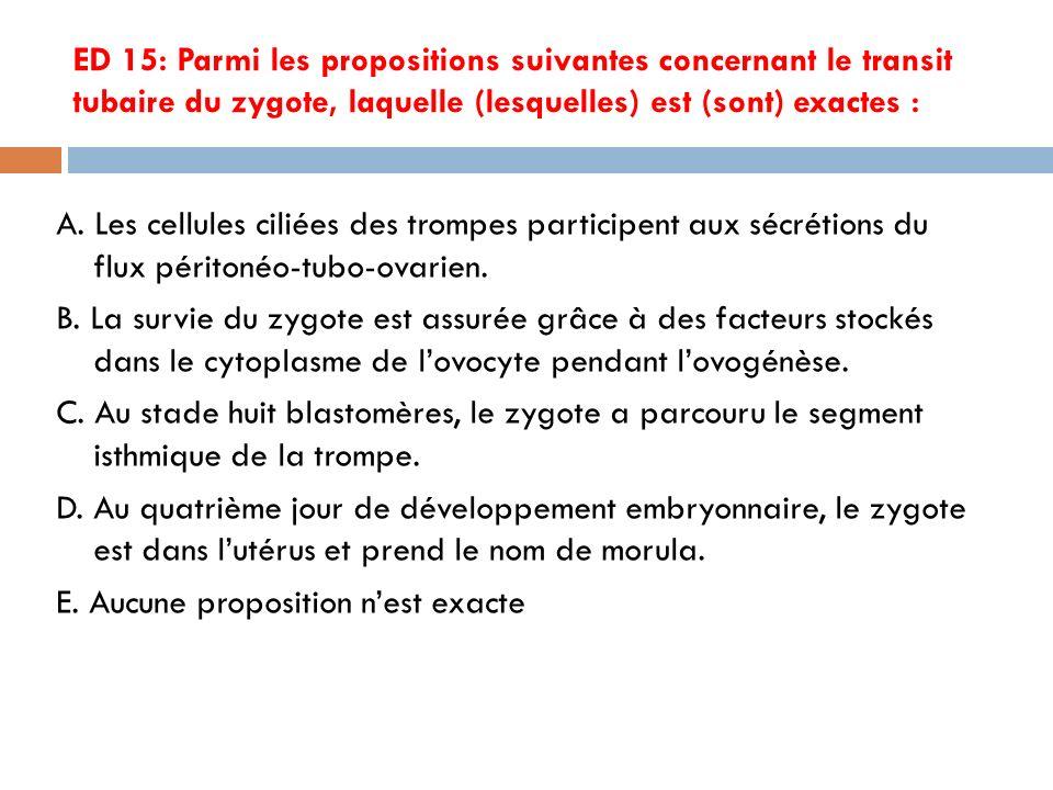 ED 15: Parmi les propositions suivantes concernant le transit tubaire du zygote, laquelle (lesquelles) est (sont) exactes :