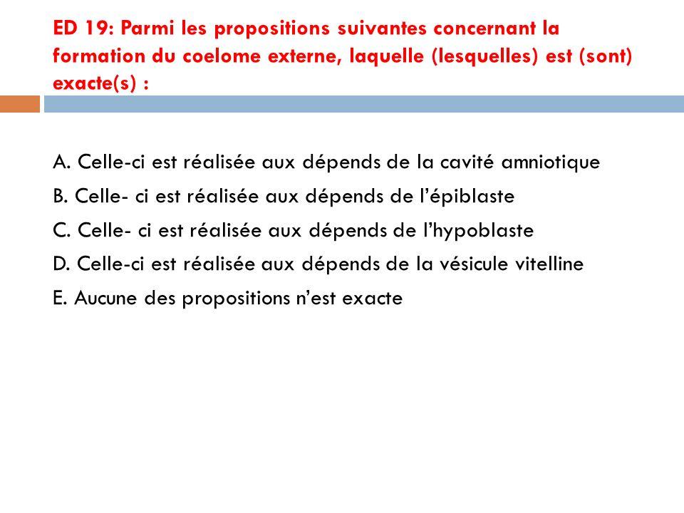 ED 19: Parmi les propositions suivantes concernant la formation du coelome externe, laquelle (lesquelles) est (sont) exacte(s) :