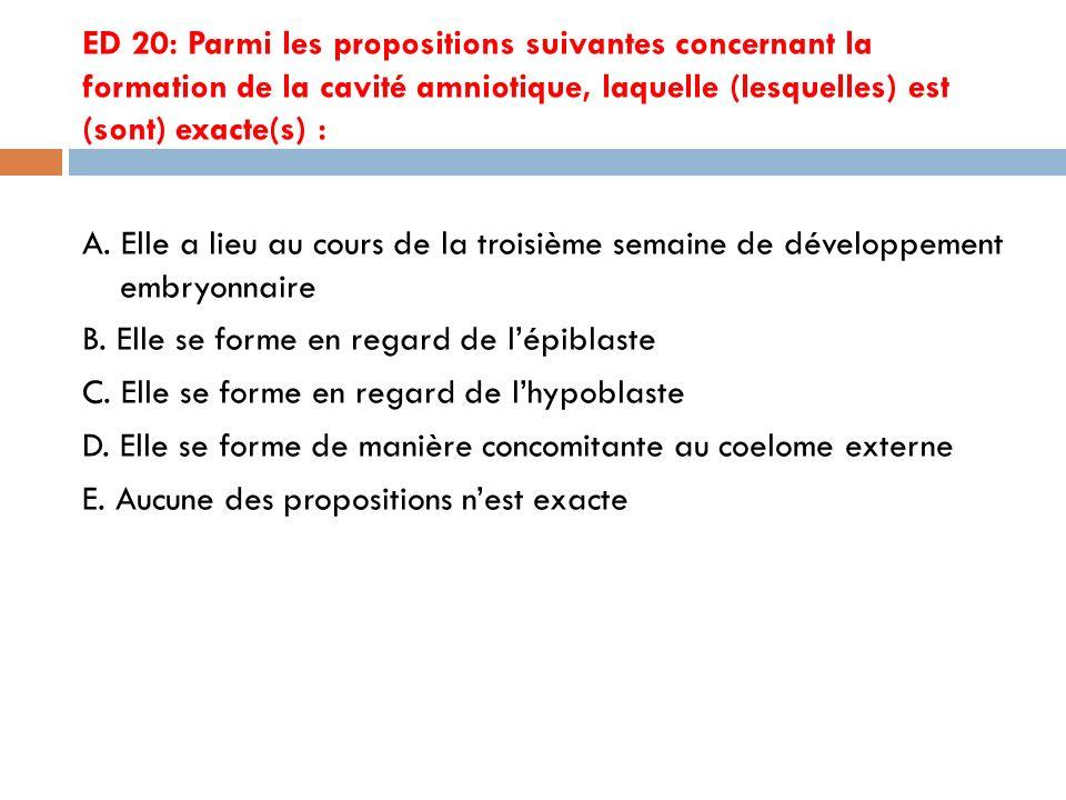 ED 20: Parmi les propositions suivantes concernant la formation de la cavité amniotique, laquelle (lesquelles) est (sont) exacte(s) :
