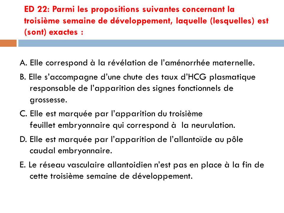 ED 22: Parmi les propositions suivantes concernant la troisième semaine de développement, laquelle (lesquelles) est (sont) exactes :
