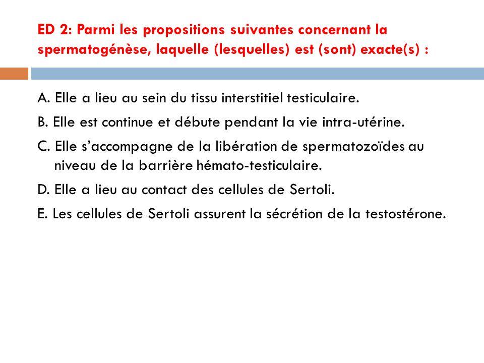 ED 2: Parmi les propositions suivantes concernant la spermatogénèse, laquelle (lesquelles) est (sont) exacte(s) :