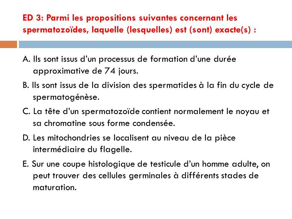 ED 3: Parmi les propositions suivantes concernant les spermatozoïdes, laquelle (lesquelles) est (sont) exacte(s) :